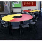 Half donut guided reading table with Student chairs