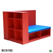 Book storage with bench seat