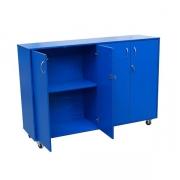Mobile storage cupboard, open