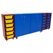 Mobile storage cupboard with Mobile tray storage