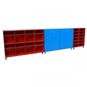 Mobile storage trolley with cupboard