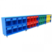Mobile storage trolleys, Blue with coloured inserts