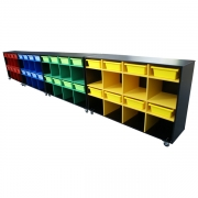 Mobile storage trolleys, Black with coloured inserts