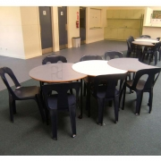 Student plastic stacker with Student tables
