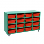 Mobile storage unit, red tubs