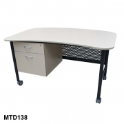 Mobile desk with fixed pedestal