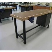 Teachers demonstration woodwork bench with flat top