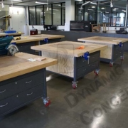 Four station woodwork benches with drawers